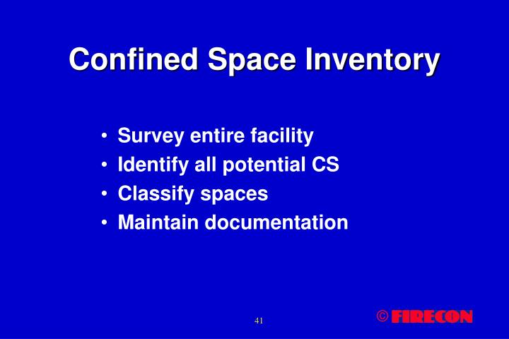 Confined Space Inventory