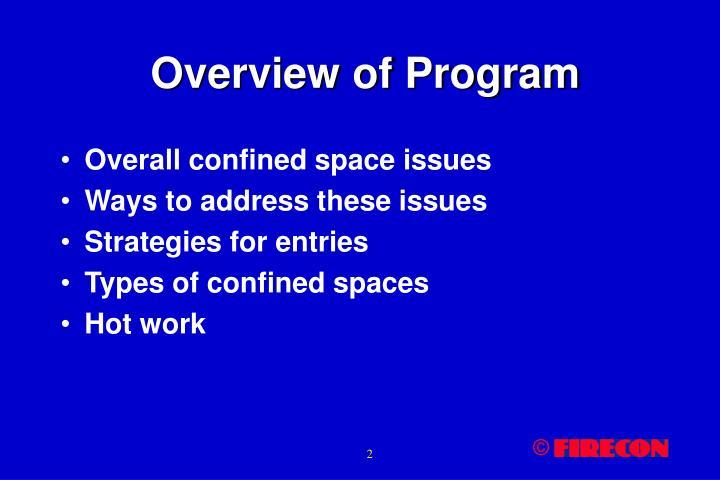 Overview of program