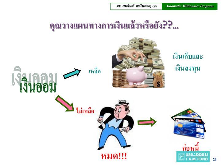 คุณวางแผนทางการเงินแล้วหรือยัง