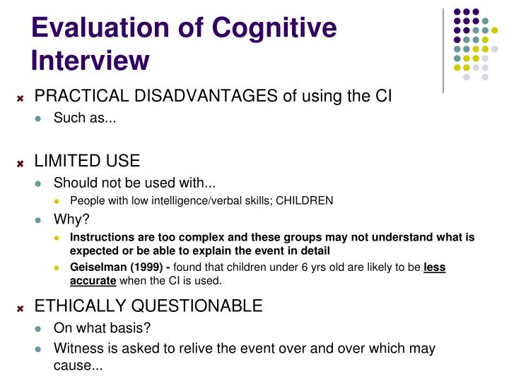 Evaluation of Cognitive Interview