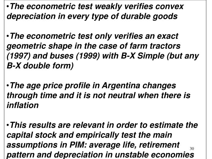 The econometric test weakly verifies convex depreciation in every type of durable goods