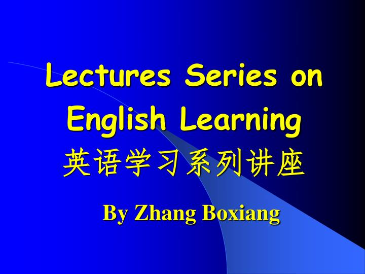 lectures series on english learning n.