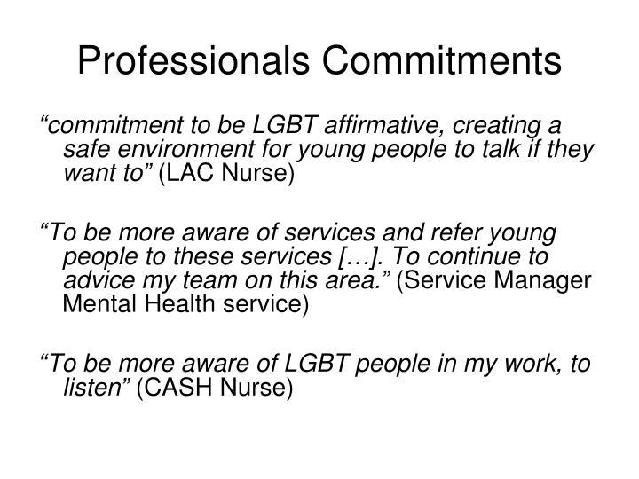 Professionals Commitments