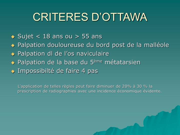 CRITERES D'OTTAWA
