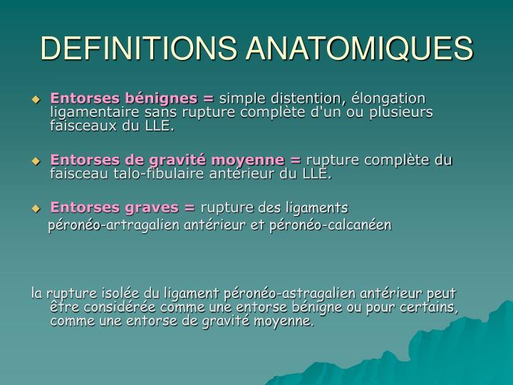 Definitions anatomiques