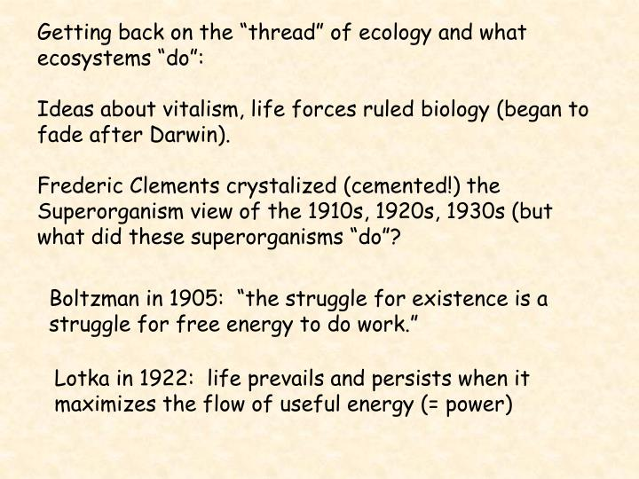 """Getting back on the """"thread"""" of ecology and what ecosystems """"do"""":"""