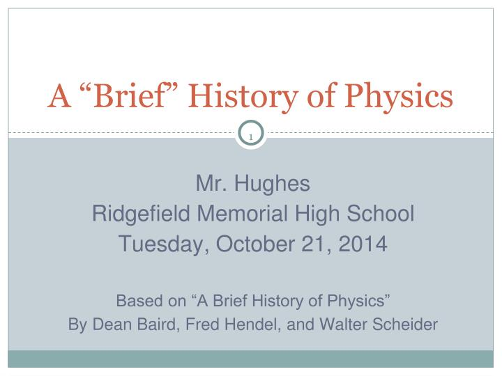 a brief history of physics n.
