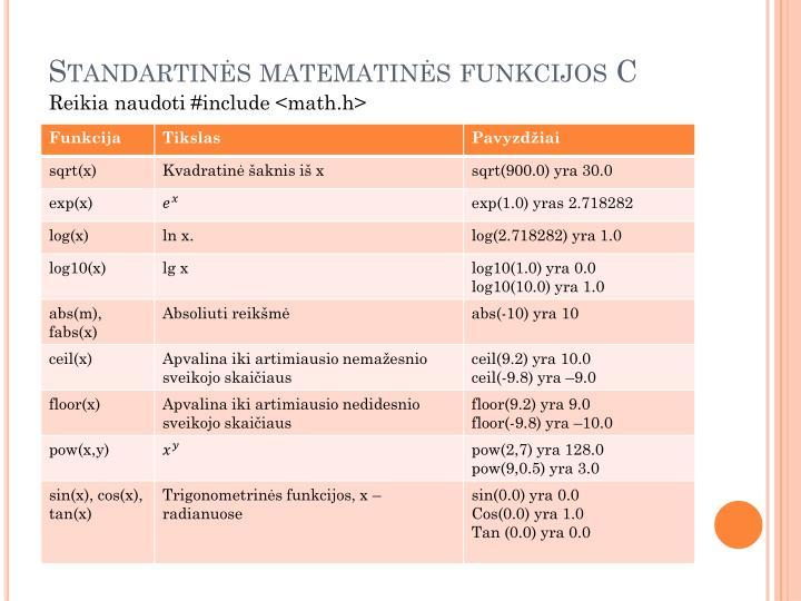 Standartinės matematinės