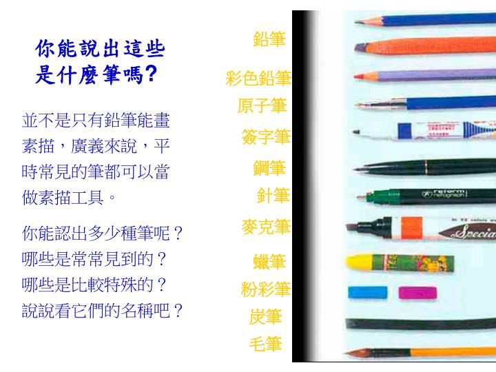 你能說出這些是什麼筆嗎