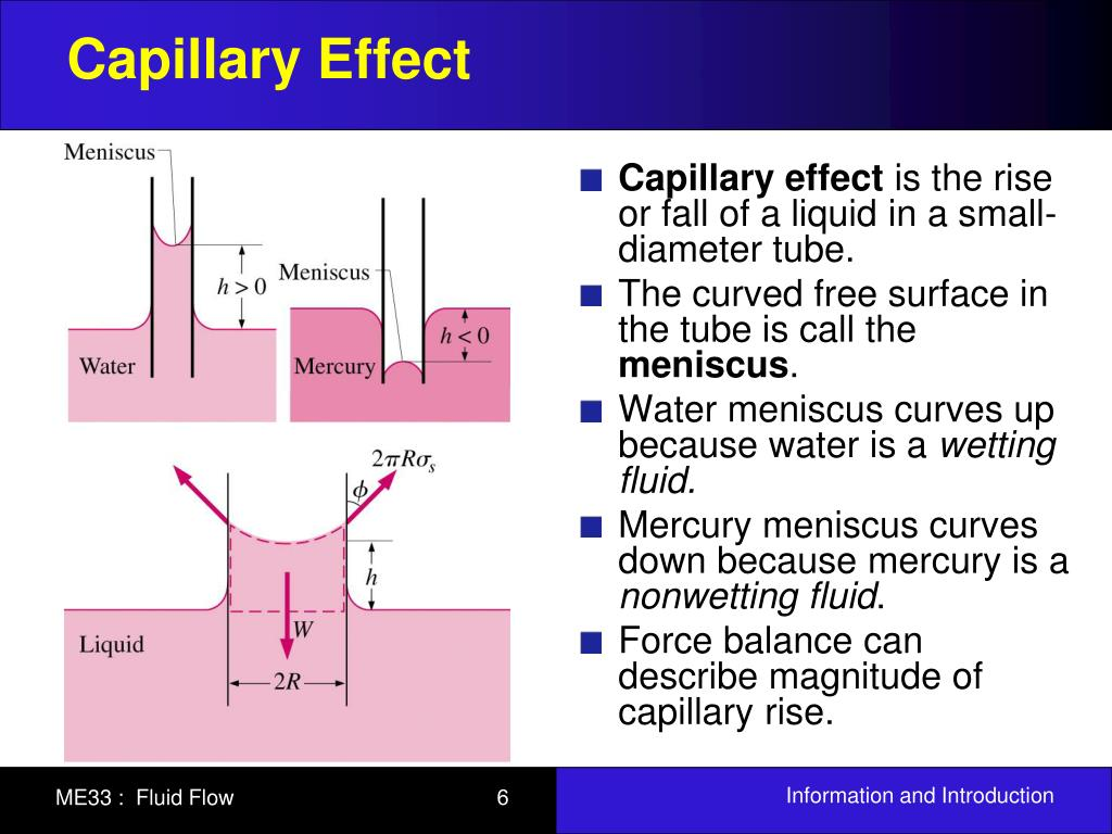 Capillary effect mercury