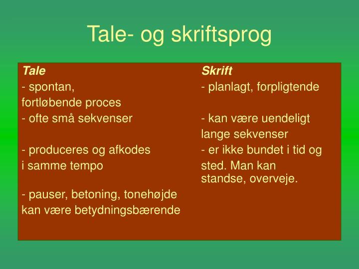 Tale og skriftsprog1