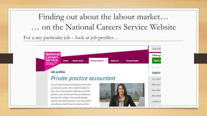 Finding out about the labour market…