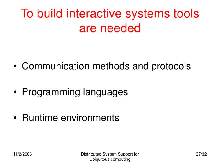 To build interactive systems tools are needed