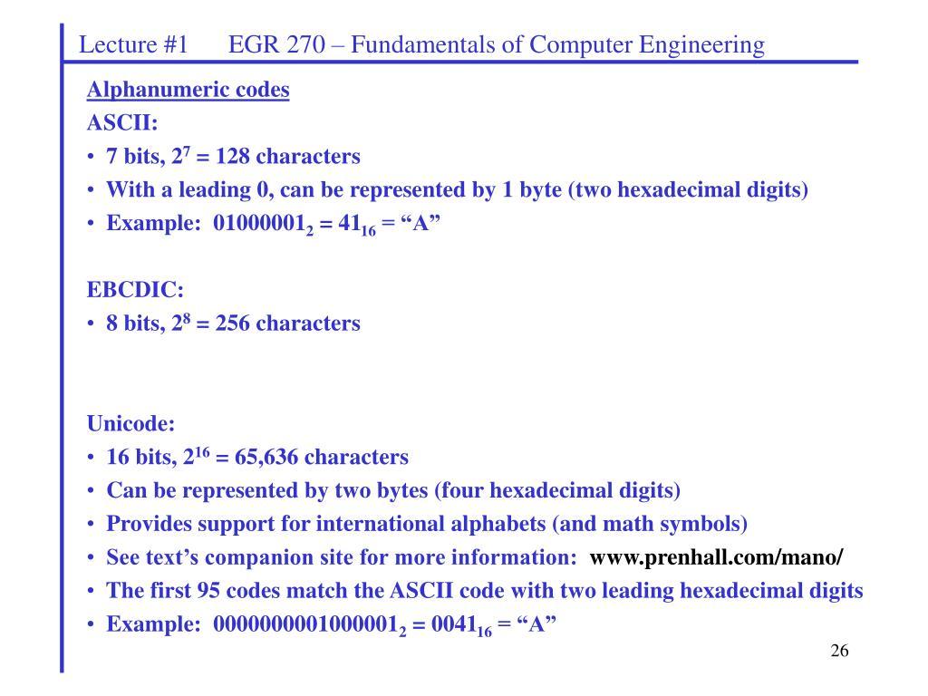 PPT - EGR 270 Fundamentals of Computer Engineering