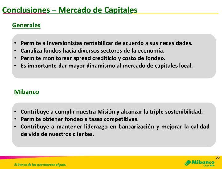 Conclusiones – Mercado de Capitales