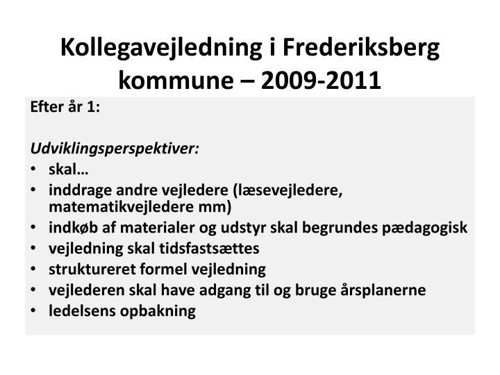 Kollegavejledning i frederiksberg kommune 2009 20111