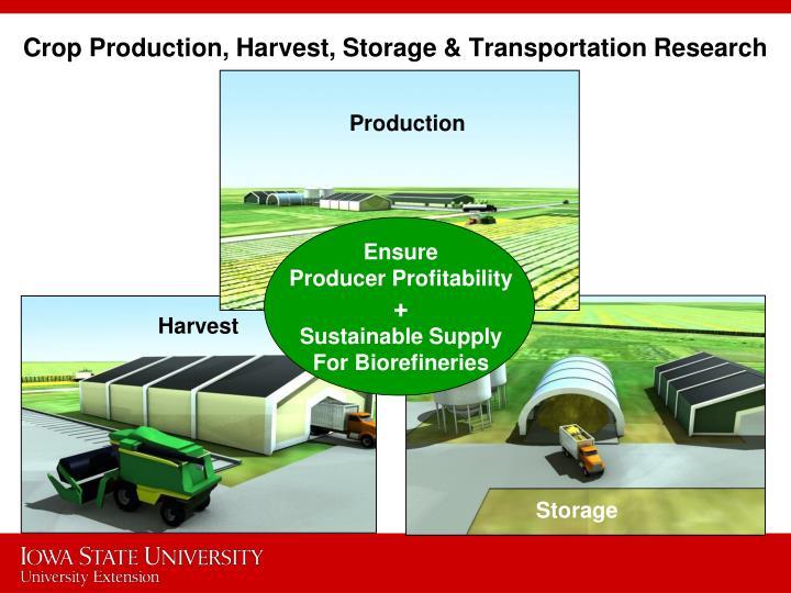 Crop Production, Harvest, Storage & Transportation Research