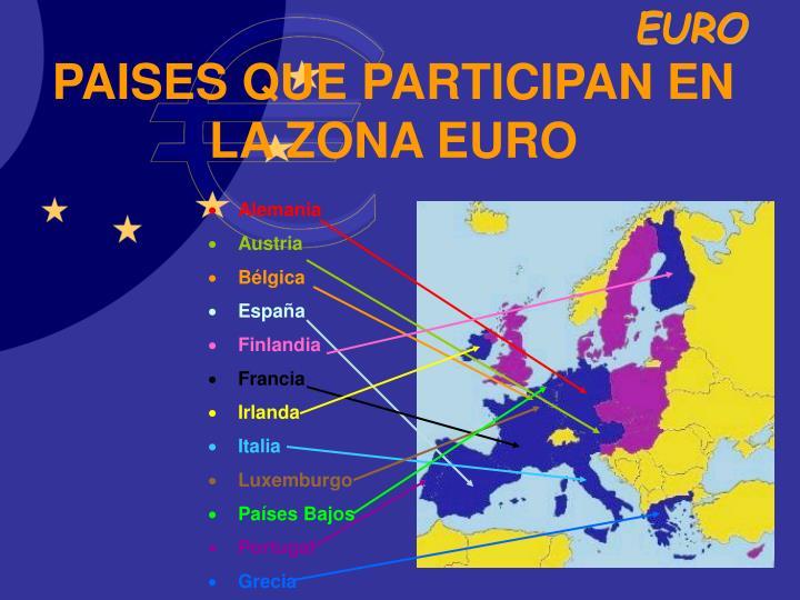 PAISES QUE PARTICIPAN EN LA ZONA EURO
