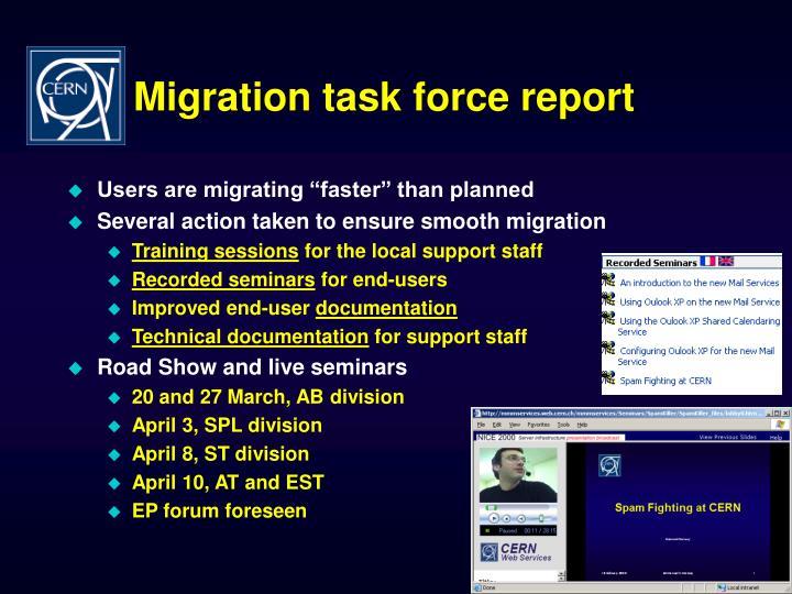 Migration task force report