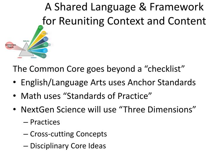 A Shared Language & Framework for Reuniting Context and Content