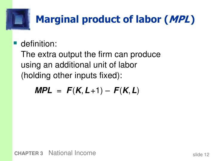 Marginal product of labor (