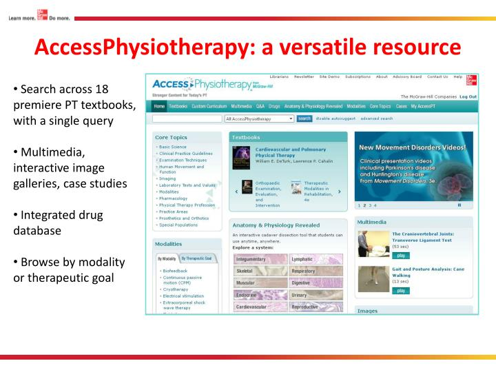 AccessPhysiotherapy: a versatile resource