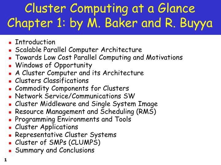 cluster computing at a glance chapter 1 by m baker and r buyya n.
