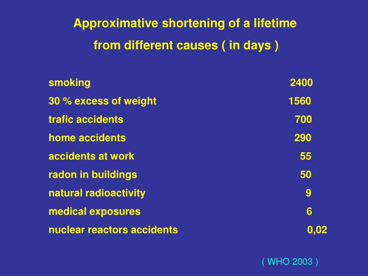 Approximative shortening of a lifetime