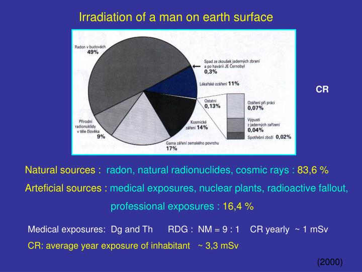 Irradiation of a man on earth surface