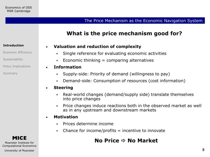 the price mechanism in economics Do you need homework help for topic price mechanism in a mixed economy the problem of how and whom to manufacture is decided by the price mechanism and partly by the state for the first case and central for the next case we have the best tutors in economics in the industry.
