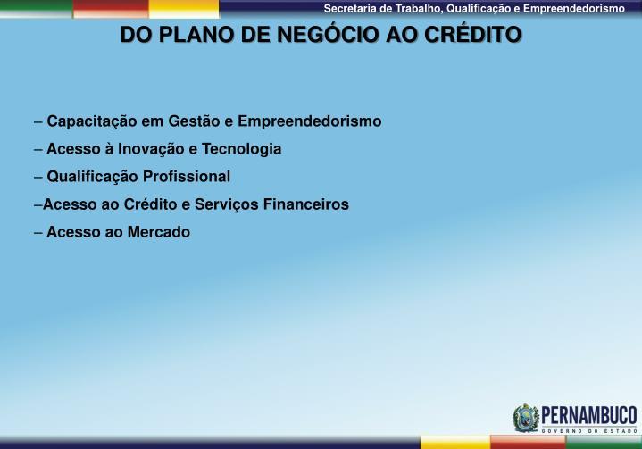 DO PLANO DE NEGÓCIO AO CRÉDITO