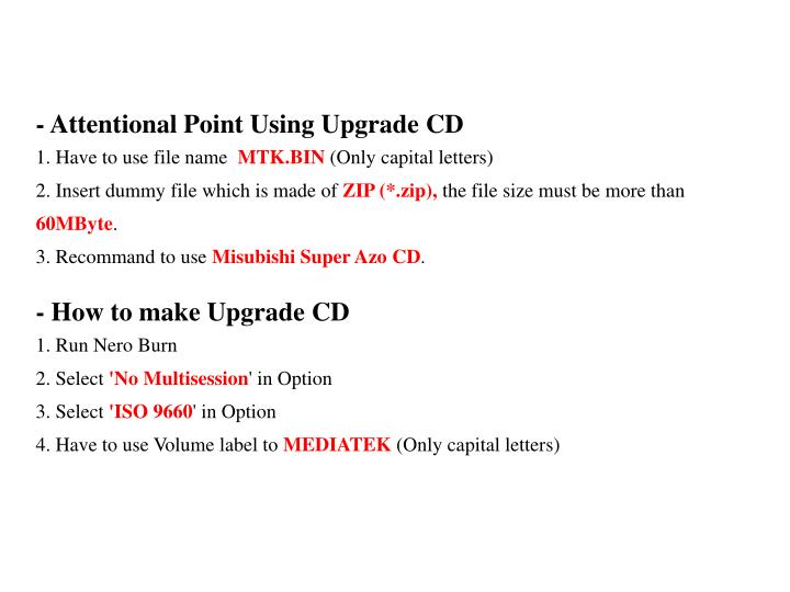 - Attentional Point Using Upgrade CD