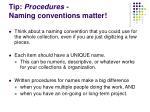 tip procedures naming conventions matter