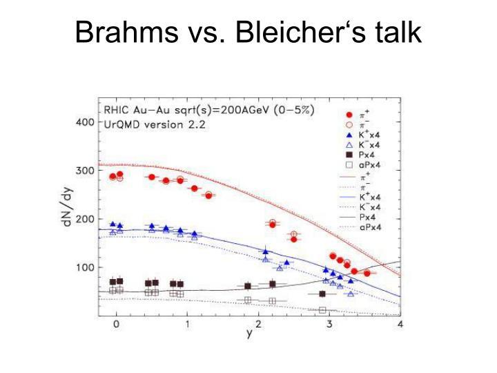 Brahms vs. Bleicher's talk