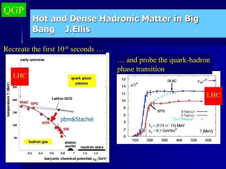 Hot and dense hadronic matter in big bang j ellis