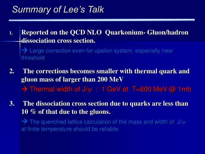 Summary of Lee's Talk