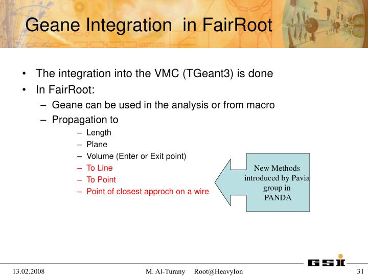 The integration into the VMC (TGeant3) is done