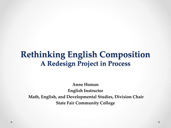 rethinking english composition a redesign project in process n.