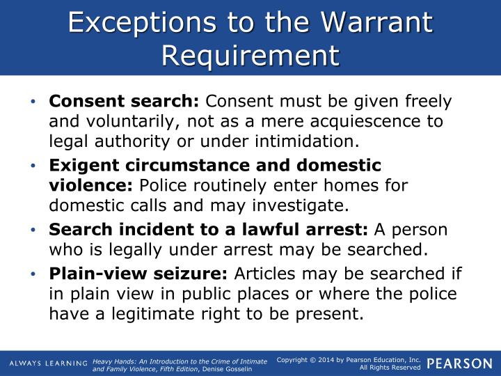 a discussion of search and seizure and its exceptions to warrant requirement The case against a plain feel exception to the warrant requirement  search and seizure1 the exception essentially  pansive discussion of the intricacies of .