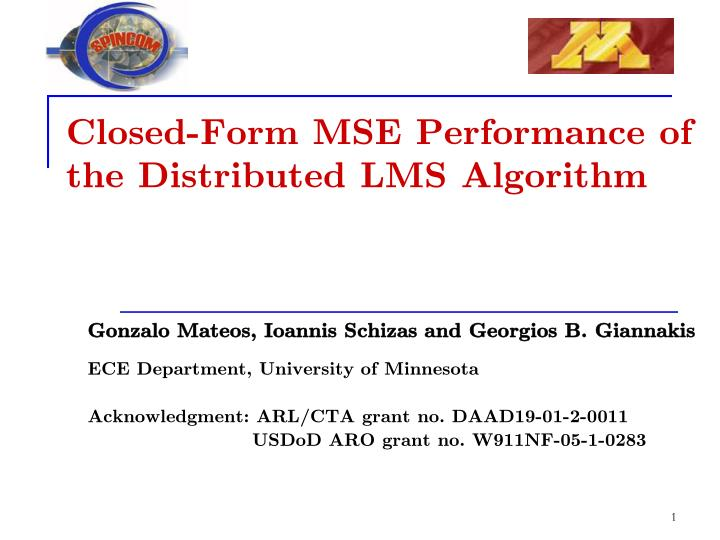 closed form mse performance of the distributed lms algorithm n.