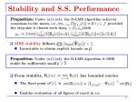 stability and s s performance
