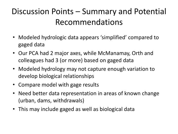Discussion Points – Summary and Potential Recommendations