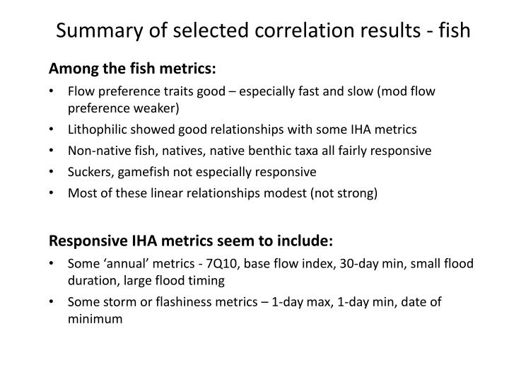 Summary of selected correlation results - fish