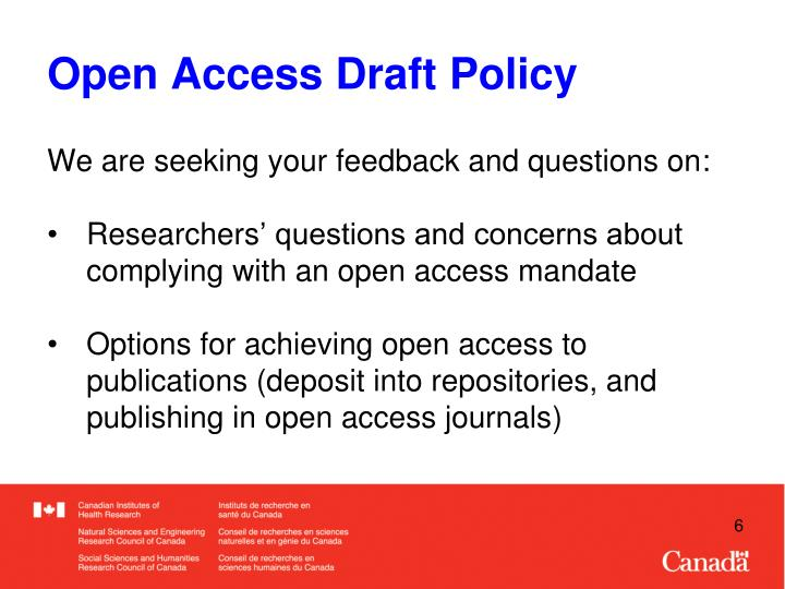 Open Access Draft Policy