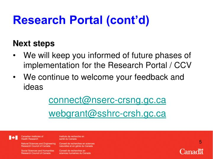 Research Portal (cont'd)