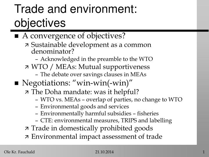 trade and environment objectives n.