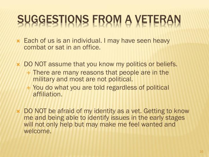 Suggestions from a Veteran