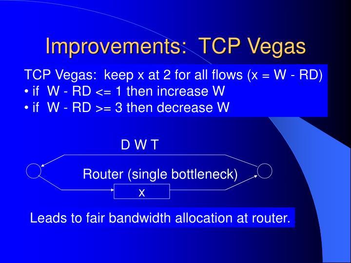 Improvements:  TCP Vegas