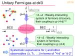 unitary fermi gas at d 3