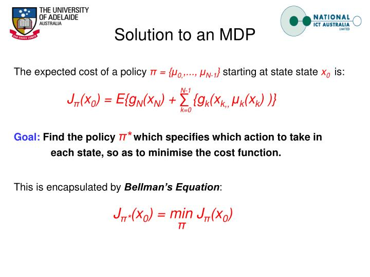 Solution to an MDP
